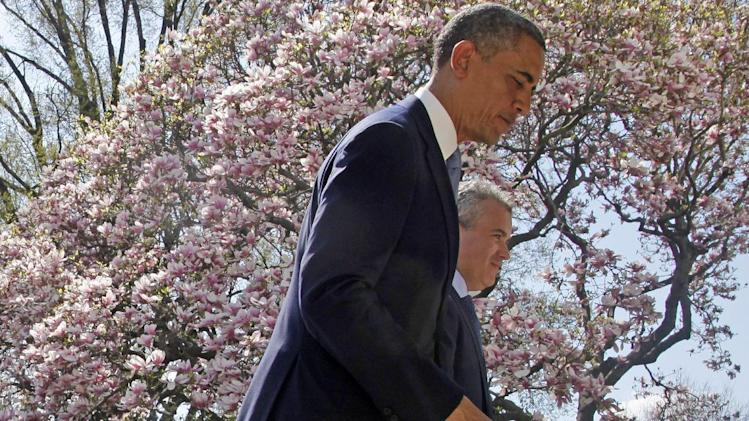 President Barack Obama and acting Budget Director Jeffrey Zients, leave the Rose Garden of the White House in Washington, Wednesday April 10, 2013, after he president discussed his proposes fiscal 2014 federal budget.  (AP Photo/Charles Dharapak)