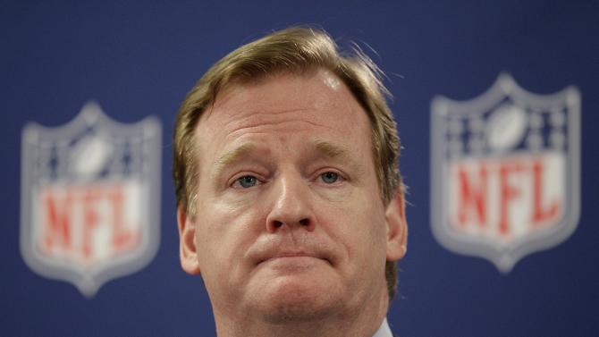 FILE - This May 22, 2012 file photo shows NFL Commissioner Roger Goodell during a new conference in Atlanta. More than nine months after the NFL first disclosed its bounty investigation of the New Orleans Saints, four players will finally get a ruling, Tuesday, Dec. 11, 2012,  on whether their initial suspensions are upheld, reduced or thrown out. If the players get the ruling they seek, it would discredit an NFL probe, Goodell, that covered three seasons and gathered about 50,000 pages of documents. (AP Photo/David Goldman, File)