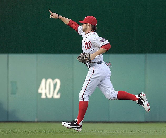Bryce Harper unrewarded for fantastic throw — again (VIDEO ... Bryce Harper Outfield