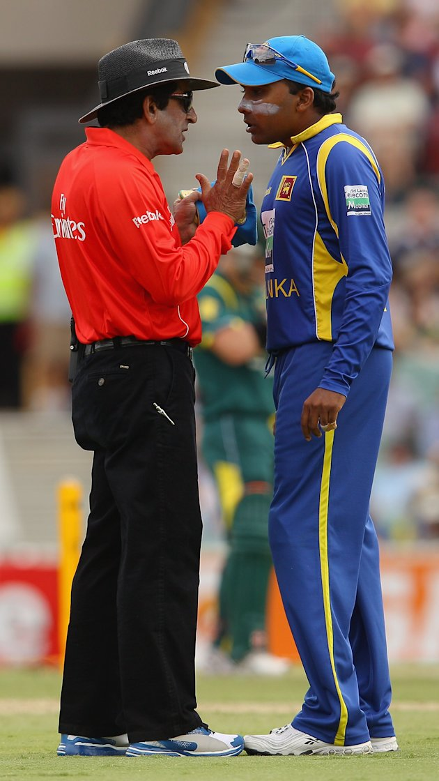 ... and Mahela Jayawardene of Sri Lanka exchange heated words on Tuesday
