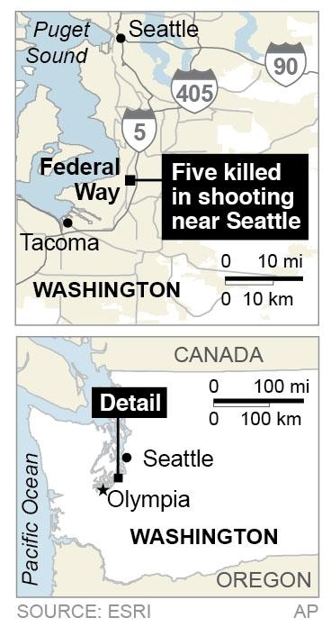 Map locates Federal Way, Washington, where five are killed in a shooting.