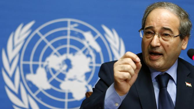 Syrian Deputy Foreign Minister Meqdad addresses the media after a meeting at the Geneva Conference on Syria at the UN in Geneva