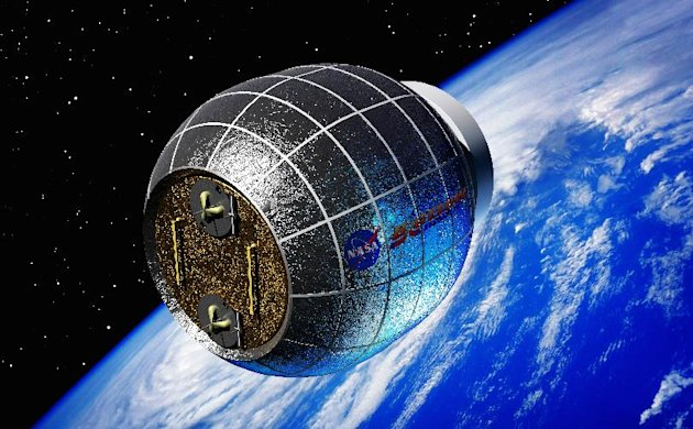 This artist's rendering provided by Bigelow Aerospace shows a Bigelow inflatable space station. NASA is partnering with this commercial space company to test an inflatable room that can be compressed