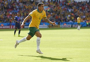 Australia's Tim Cahill celebrates after scoring his side's first goal against the Netherlands. (AP)