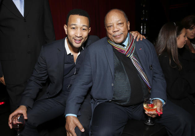 John Legend and Quincy Jones attend a Celebration of LA's Music Industry at the Getty House on Thursday, Feb. 7, 2013 in Los Angeles. (Photo by Todd Williamson/Invision/AP)