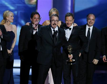 "Executive producer Vince Gilligan accepts the award for Outstanding Drama Series for ""Breaking Bad"" at the 65th Primetime Emmy Awards in Los Angeles"