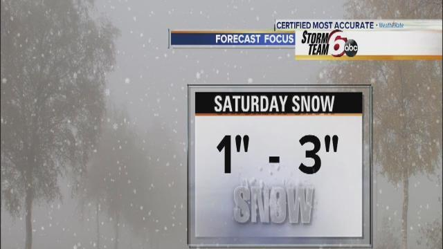 1-3 inches snow expected Saturday