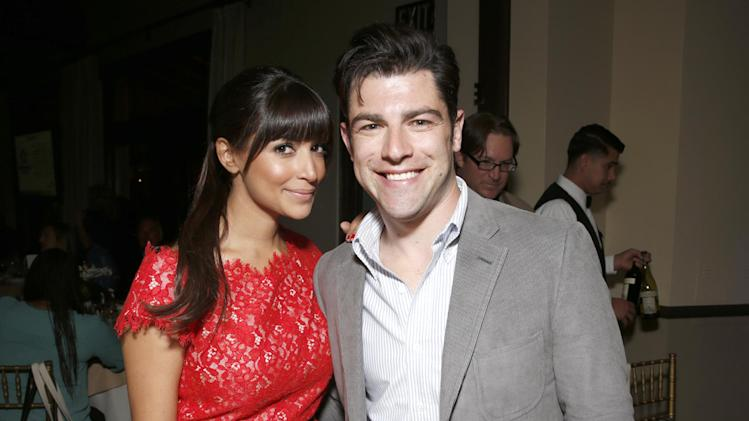 Hannah Simone and Max Greenfield attend VERTE, Grades of Green's annual fundraising event to benefit environmental education at Bel-Air Bay Club on April 11, 2013 in Pacific Palisades, California (Photo by Todd Williamson/Invision for Fox/AP Images)
