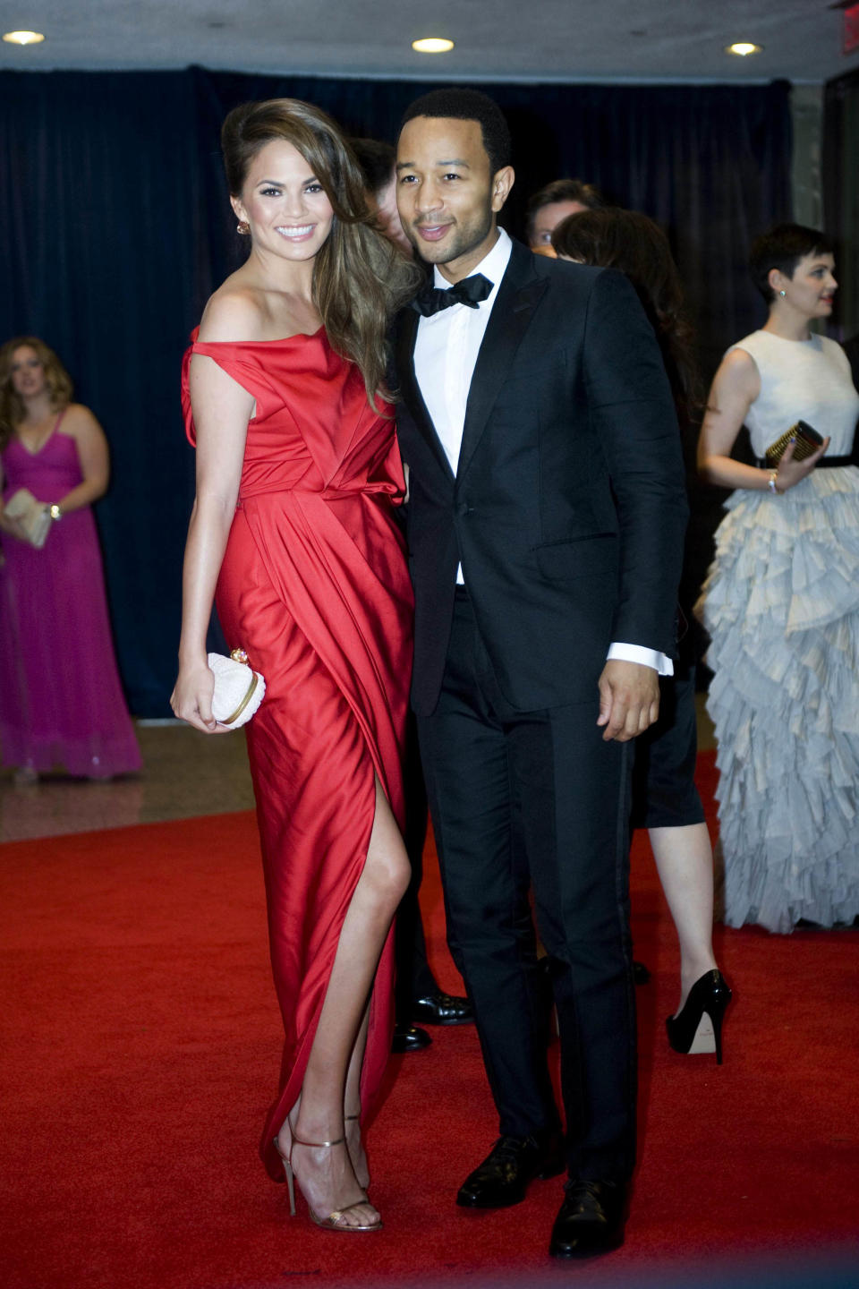 John Legend and Chrissy Teigen arrive at the White House Correspondents' Association Dinner on Saturday, April 28, 2012 in Washington.  (AP Photo/Kevin Wolf)