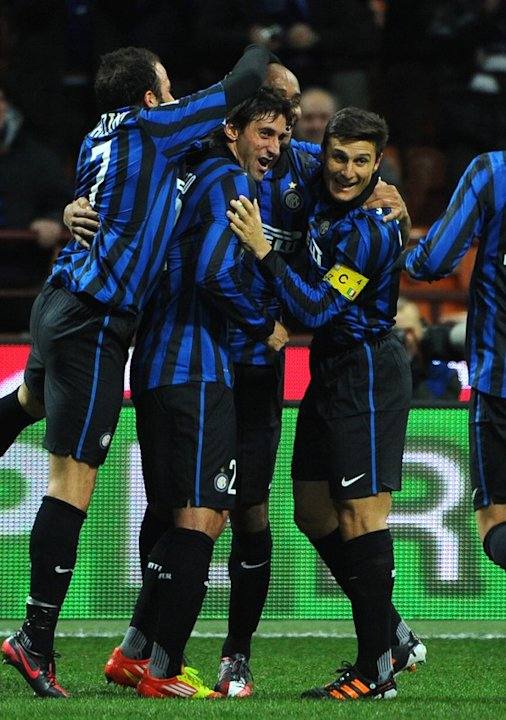 Inter Milan's Argentine Forward Milito (C) Celebrates AFP/Getty Images