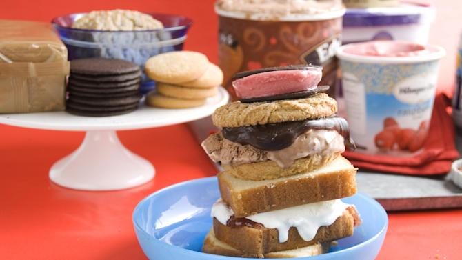 In this image taken on May 27, 2013, front, from top down, black and red, double chocolate, and shortcake ice cream sandwiches buffet for July Fourth served in a bowl as shown in Concord, N.H. (AP Photo/Matthew Mead)
