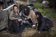 Rick Grimes (Andrew Lincoln), Michonne (Danai Gurira) and Karen (Melissa Ponzio) in &quot;The Walking Dead&quot; Season 3 Finale, &quot;Welcome to the Tombs.&quot;