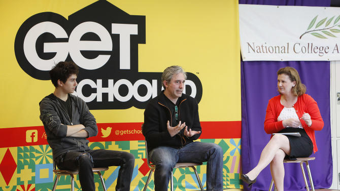 IMAGE DISTRIBUTED FOR GET SCHOOLED - Actor Nat Wolff, director Paul Weitz of ADMISSION and moderator Nicole Hurd executive director of NCAC (National College Advising Corps) speak at the Q&A after the GET SCHOOLED special screening of ADMISSION at the Bronx Validus Preparatory School on Wednesday, March, 6, 2013 in New York City, New York. (Photo by Amy Sussman/Invision for Get Schooled/AP Images)