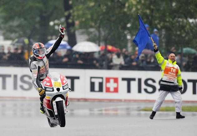 French Louis Rossi (FTR HONDA), reacts after wining the French Moto 3 Grand Prix at Le Mans's circuit, western France on May 20,2012. AFP PHOTO / ALAIN JOCARDALAIN JOCARD/AFP/GettyImages