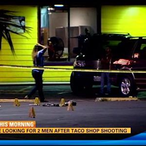 Police looking for 2 men in taco shop shooting