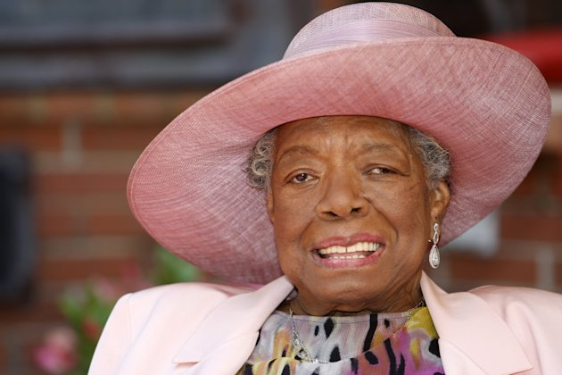 FILE - In this May 20, 2010 file photo, poet Maya Angelou smiles as she greets guests at a garden party at her home in Winston-Salem, N.C. In the midst of talking black history with Grammy-winning singer Alicia Keys, Angelou breaks out singing a hymn a cappella. She wants to show Keys, a New Yorker, what &quot;lining out,&quot; call-and-response singing that is popular in Southern black churches, sounds like. That teaching moment is one of many during Angelou&#39;s third annual Black History Month program, &quot;Telling Our Stories,&quot; airing on more than 175 public radio stations nationwide throughout the month. (AP Photo/Nell Redmond, file)