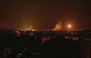 This image made from video shows the Gaza skyline during …