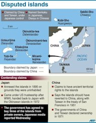 A graphic showing the Senkaku island chain under Japanese control but also claimed by China, where they are known as the Diaoyu islands