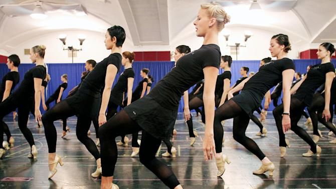 FILE - This Oct. 18, 2012 file image released by Starpix shows Rockettes dancers rehearsing for the Radio City Christmas Spectacular at the St. Paul the Apostle Church in New York. The Radio City Christmas Spectacular will celebrate its 85th anniversary of the Rockettes this year. The show opens Nov. 9 through Dec. 30. (AP Photo/Starpix, Dave Allocca)