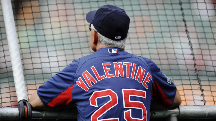 Boston Red Sox manager Bobby Valentine watches during batting practice before a baseball game against the Baltimore Orioles, Tuesday, Aug. 14, 2012, in Baltimore. (AP Photo/Nick Wass)