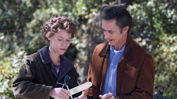 "Claire Danes as Temple and David Strathairn as Dr. Carlock in ""Temple Grandin."""