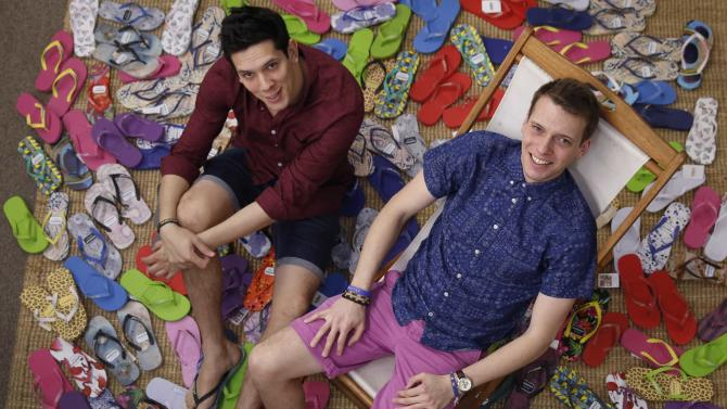 Brothers Rob and Paul Forkan, creators of Gandys flip-flops, pose at their offices in London