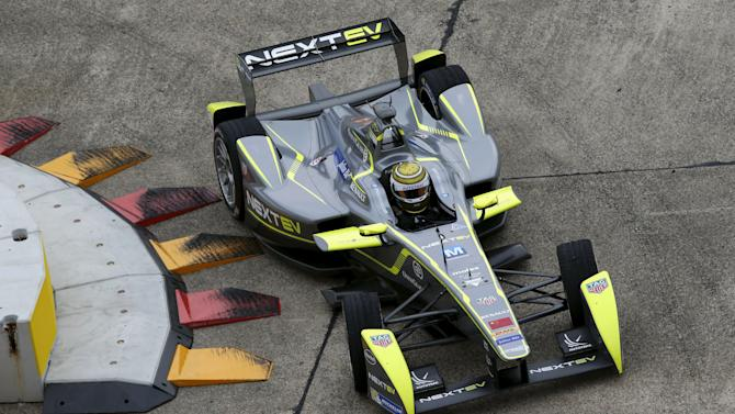 NEXTEV TCR Team driver Piquet Jr. drives a Formula E car during a practice round for a Championship race at former Tempelhof airport in Berlin
