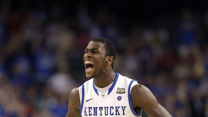 Kentucky forward Michael Kidd-Gilchrist (14) reacts during the second half of the NCAA Final Four tournament college basketball championship game against Kansas, Monday, April 2, 2012, in New Orleans. (AP Photo/David J. Phillip)