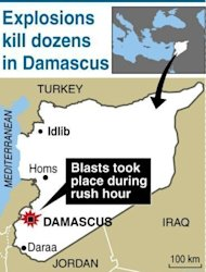 Map of Syria locating Damascus where two suicide bombers killed at least 55 people and wounded nearly 400