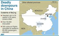 <p>Map of China locating the areas hit by heavy rainfall that have left dozens killed at the weekend, according to state media</p>