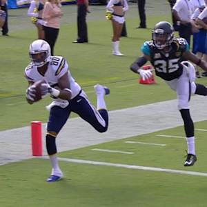 San Diego Chargers quarterback Philip Rivers to Malcom Floyd for a 24-yard touchdown