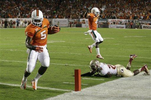 No. 12 Florida State downs Miami, 33-20