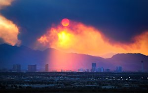 The Las Vegas Strip skyline is seen as smoke continues…