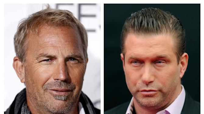 """In this photo combo, actor Kevin Costner, left, arrives at a screening of """"The Company Men"""" during American Film Institute's AFI Fest 2010 in Los Angeles on Wednesday, Nov. 10, 2010; and at right, actor Stephen Baldwin attends the U.S. premiere of """"Mission: Impossible - Ghost Protocol"""" at the Ziegfeld Theatre on Monday, Dec. 19, 2011, in New York. A New Orleans courtroom will be the setting for a real-life drama that casts Hollywood stars Costner and Baldwin in adversarial roles. A trial is scheduled to open Monday, June 4, 2012, for a lawsuit that Baldwin filed against Costner over their investments in a device that BP used in trying to clean up the massive Gulf of Mexico oil spill. The federal suit claims Costner and a business partner duped Baldwin and a friend out of their shares of an $18 million deal for BP to purchase oil-separating centrifuges after the April 2010 spill. (AP Photo/Matt Sayles, Evan Agostini)"""