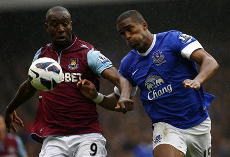 Everton's Distin challenges West Ham United's Cole during their English Premier League soccer match in Liverpool