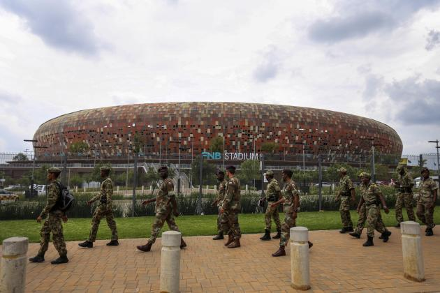 Members of SAPS' elite Special Task Force arrives ahead of Mandela's national memorial service in Johannesburg