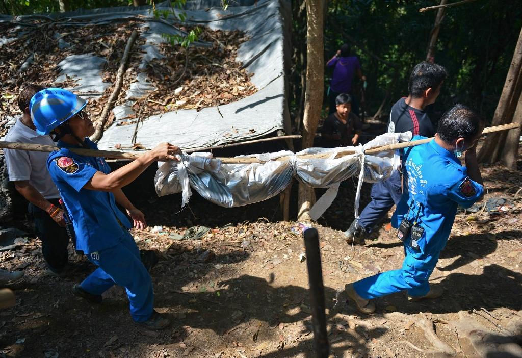 Thai forensics exhume remains of 26 migrants at mass grave