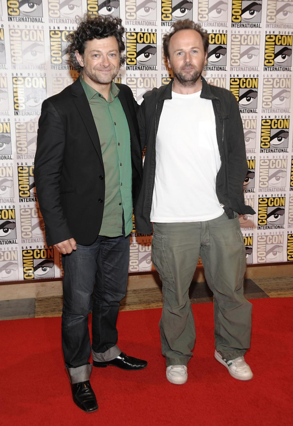 "Actor Andy Serkis, left, and director Rupert Wyatt arrive at a news conference for the feature film ""Rise of the Planet of the Apes "" at Comic Con in San Diego, Calif. on Thursday, July 21, 2011. (AP Photo/Dan Steinberg)"