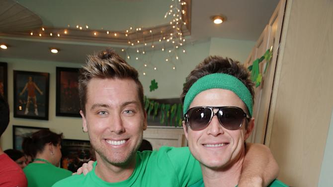 Lance Bass and Billy Bush at St. Patty's Day Slimdown benefiting the Lollipop Theatre Network held at Slimmons on Sunday, Mar., 17, 2013 in Beverly Hills, CA. (Photo by Eric Charbonneau/Invision for Lollipop Theatre Network/AP Images)