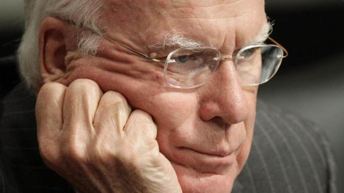FILE – In this July 15, 2009 file photo Senate Judiciary Committee Chairman Sen. Patrick Leahy, D-Vt., listens as Supreme Court nominee Sonia Sotomayor's testifies at her confirmation hearing on Capitol Hill in Washington. Vermont Democrat and Judiciary Committee chairman, Leahy, 72, has served nearly 4 decades in the upper chamber, and earned his perch as one of the Senate's most powerful, and visible, members. Now he is front and center in two of the most contentious fights facing a bitterly divided Senate: guns and immigration. (AP Photo/J. Scott Applewhite, File)