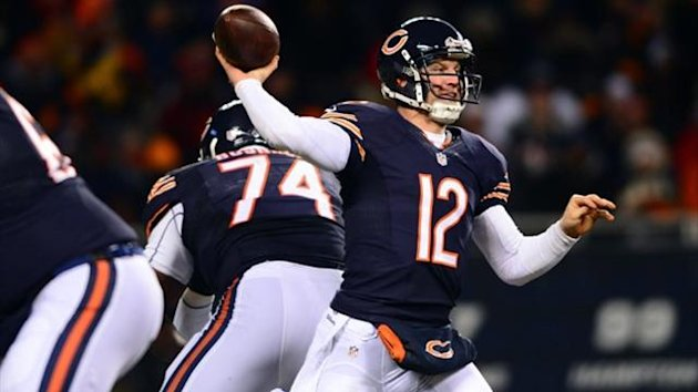 Chicago Bears quarterback Josh McCown (12) throws a pass during the third quarter against the Dallas Cowboys at Soldier Field (Reuters)