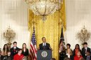 U.S. President Obama speaks to the national winners as he hosts a White House Science Fair in the East Room at the White House in Washington