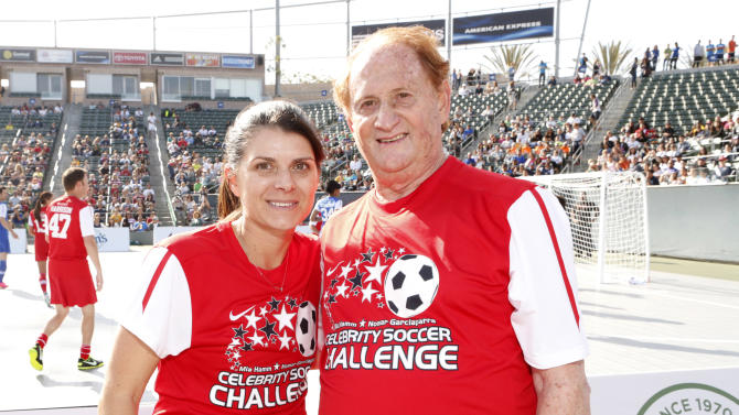 Mia Hamm and Mike Medavoy attend the LAFEST LA Film and Entertainment Soccer Tournament, on Sunday, March 24, 2013 in Carson, California. (Photo by Todd Williamson/Invision for THR/AP Images)