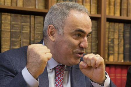 Former world chess champion and political activist Garry Kasparov attends a news conference at a lawyer's office in Paris,