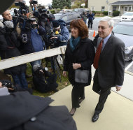 Former Penn State University President Graham Spanier and his wife Sandra enter Harrisburg, Pa. District Judge William Wenner's office Wednesday, Nov. 7, 2012. Spanier was arraigned and released on bail at the brief court appearance on charges he lied about and concealed the child sex abuse allegations involving former assistant football coach Jerry Sandusky. (AP Photo/Jason Minick) Photo by Jason Minick/AP