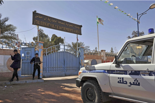 Algerian special police unit officers guard the entrance of an hospital located near the gas plant where hostages have been kidnapped by Islamic militants, in Ain Amenas, Saturday, Jan. 19, 2013. Alge