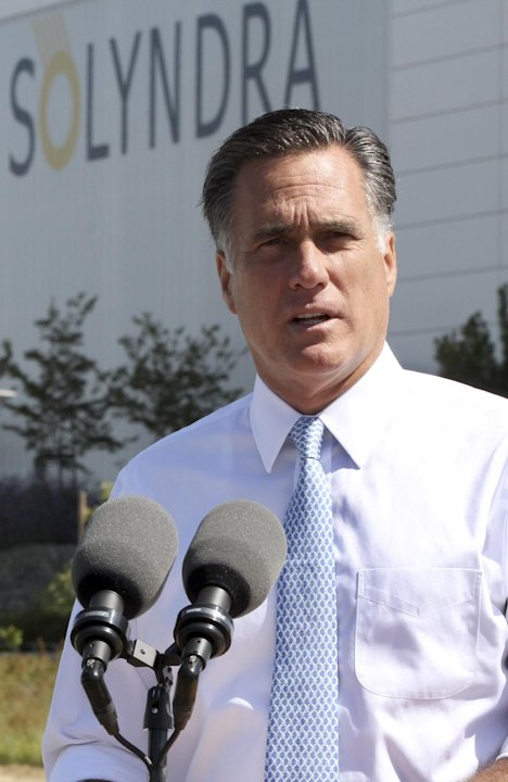Republican presidential candidate, former Massachusetts Gov. Mitt Romney holds a news conference outside the Solyndra manufacturing facility,  Thursday, May 31, 2012, in Fremont, Calif.  (AP Photo/Mar