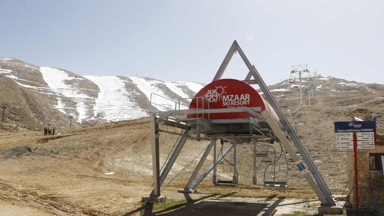 General view shows a closed ski resort due to the lack of snow in north of Beirut