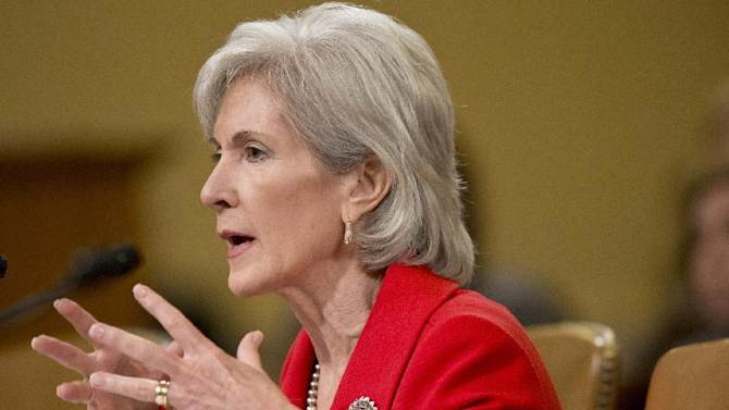 """FILE - In this April 12, 2013 file photo, Health and Human Services (HHS) Secretary Kathleen Sebelius testifies on Capitol Hill in Washington. State officials say thousands of people with medical problems are in danger of losing coverage as the Obama administration winds down one of the earliest programs in the federal health care overhaul. At risk is the Pre-Existing Condition Insurance Plan, a transition program that has turned into a lifeline for the so-called """"uninsurables"""" _ people with serious medical conditions who can't get coverage elsewhere. The health care law capped spending on the program, and now money is running out.  (AP Photo/J. Scott Applewhite, File)"""
