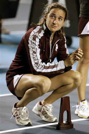 Texas A&M's Cristina Sanchez-Quintanar reacts after her team's 4-3 loss to Stanford during their match at the women's NCAA college tennis team championship at the Khan Outdoor Tennis Complex Tuesday,